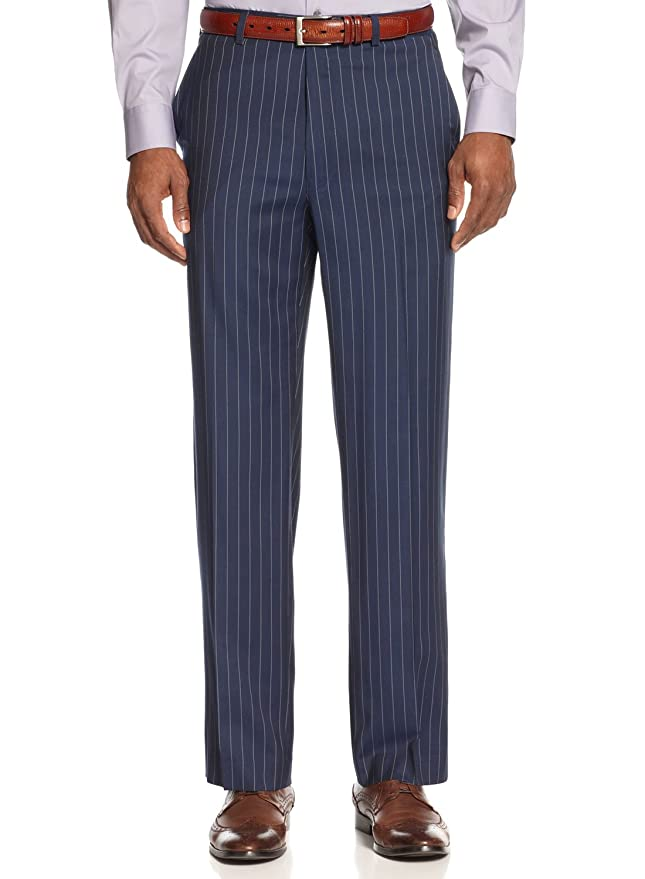 1920s Style Men's Pants & Plus Four Knickers Navy Blue and White Pinstripe Dress Pants Trousers Flat Front $120.00 AT vintagedancer.com