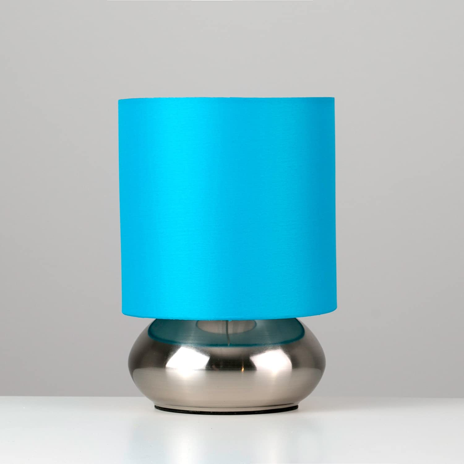 Pair Of   Modern Chrome Touch Table Lamps With Blue Shades: Amazon.co.uk:  Kitchen U0026 Home