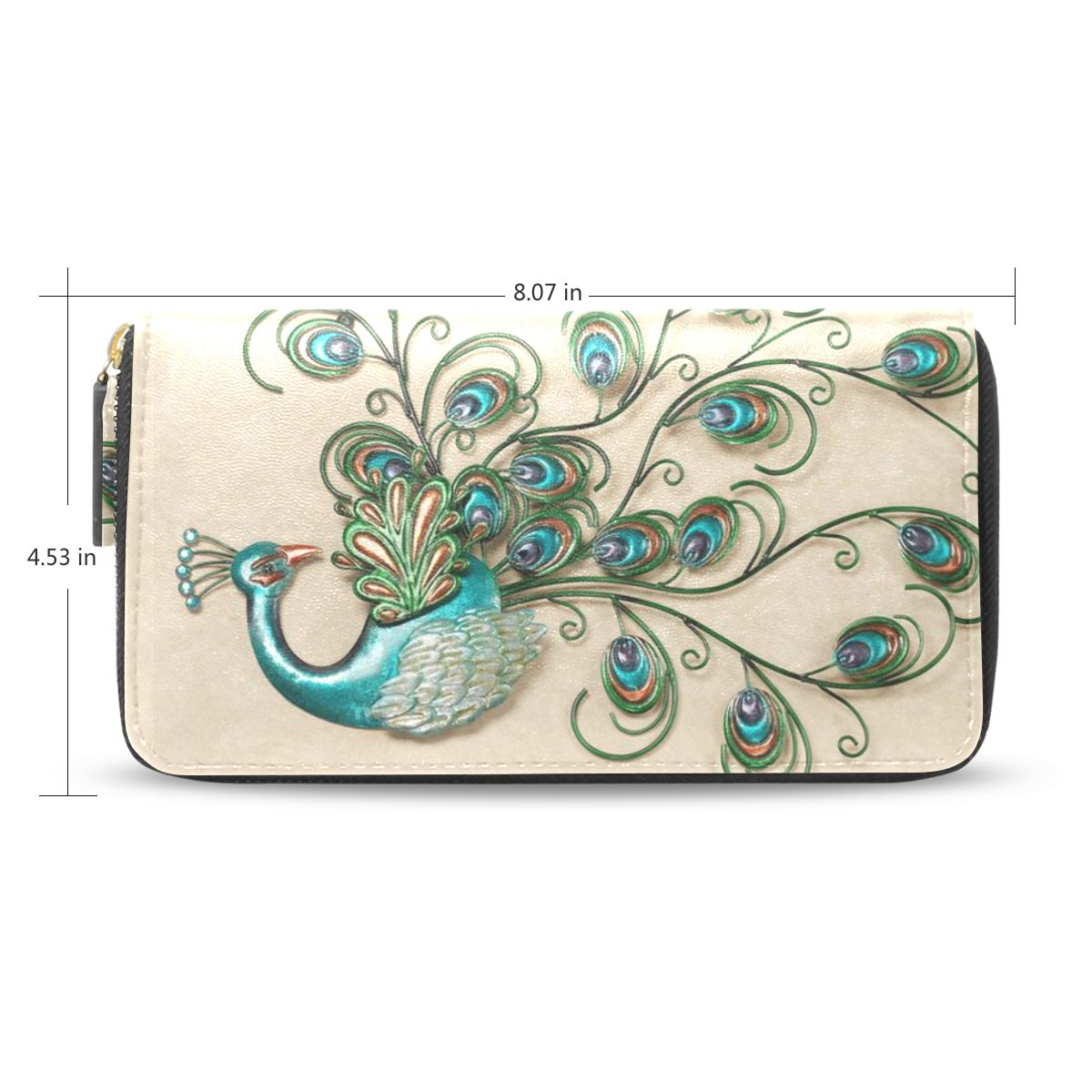 Womens Peacock Feathers Pattern Leather Long Wallet & Purse Case Card Holder