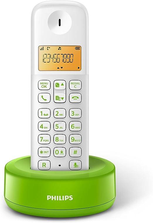Philips D1301WN - Teléfono inalámbrico con pantalla iluminada de 4.1 cm, 10hrs conversación, Blanco y verde, 1 Pieza: Amazon.es: Electrónica