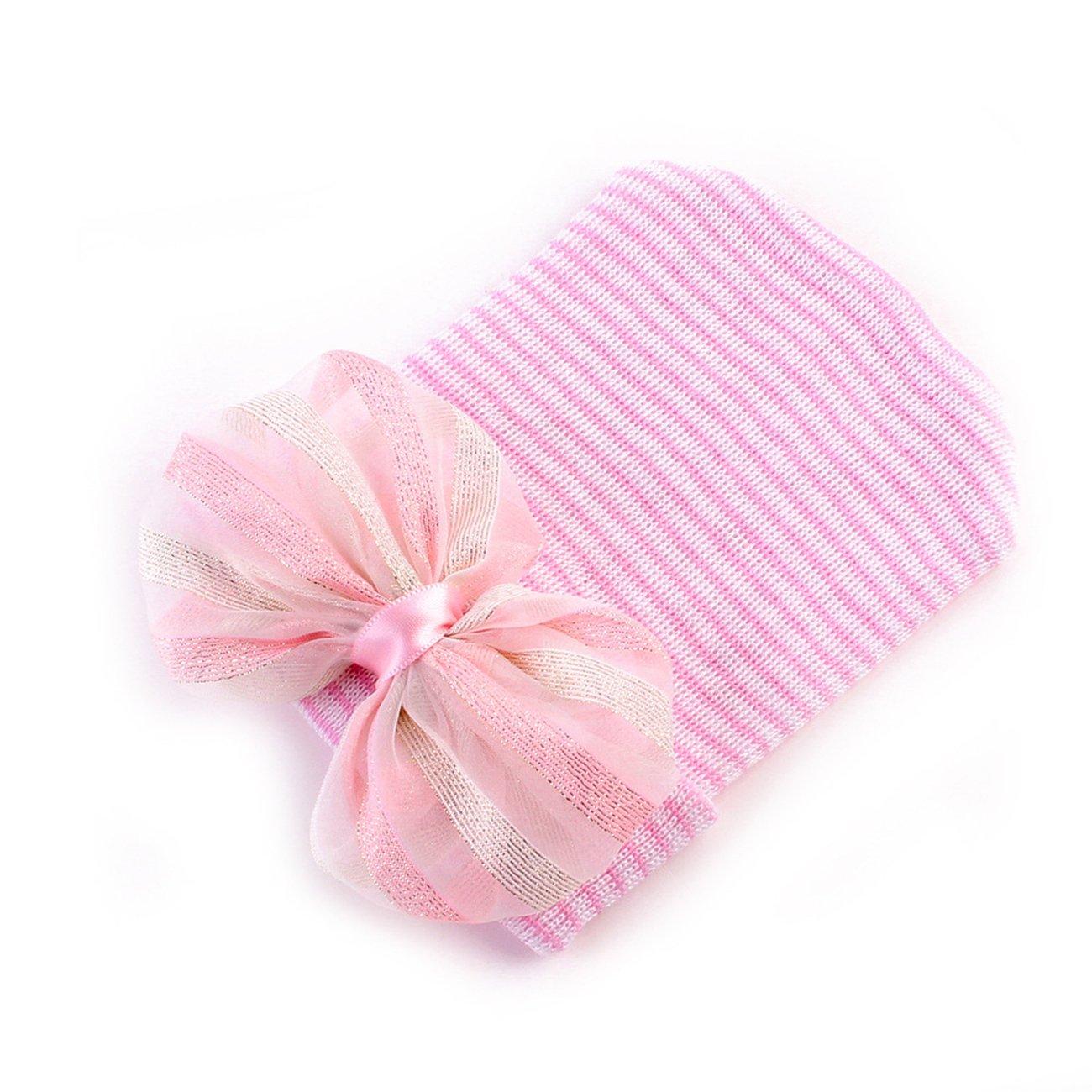 da23941c8fa DRESHOW BQUBO Newborn Hospital Hat Infant Baby Hat Cap with Big Bow Soft  Cute Knot Nursery larger image