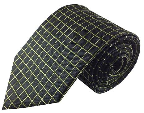 Negro con Verde Lima cuadrícula corbata: Amazon.es: Ropa y accesorios