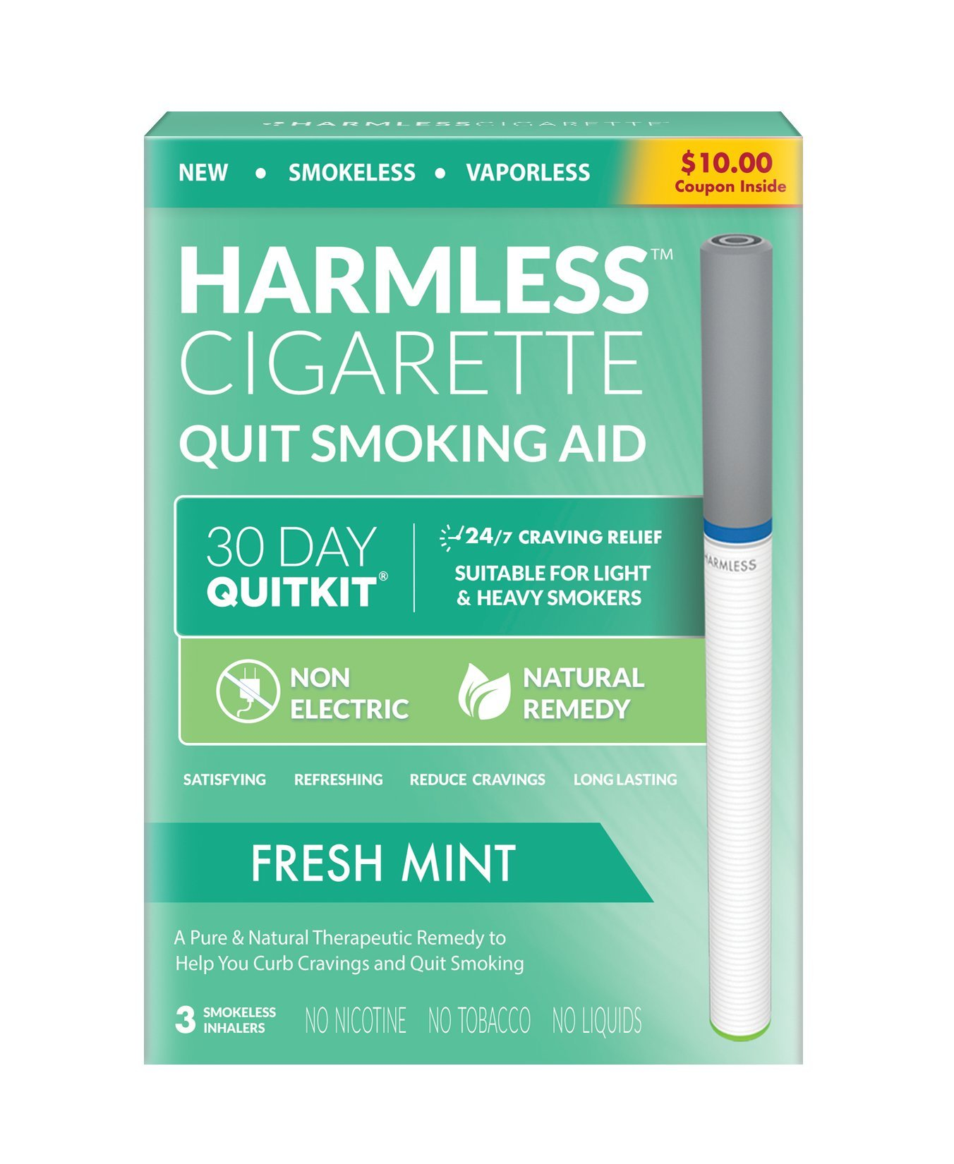 30 Day Quit Kit/Stop Smoking Aid/Satisfy & Reduce Cravings/Natural Habit Replacement and Quit Smoking Solution to Help You Successfully Quit Smoking. (Fresh Mint, 4 Week Quit Kit)
