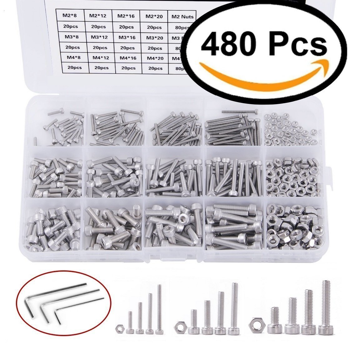 Screw and Nut Kit,Assorted Hex Socket Head Cap Bolts Nuts, M2/ M3/ M4, Stainless Steel, 8mm/ 12mm/ 16mm/ 20mm,Screw and Nuts, with Screwdriver (480 pcs)