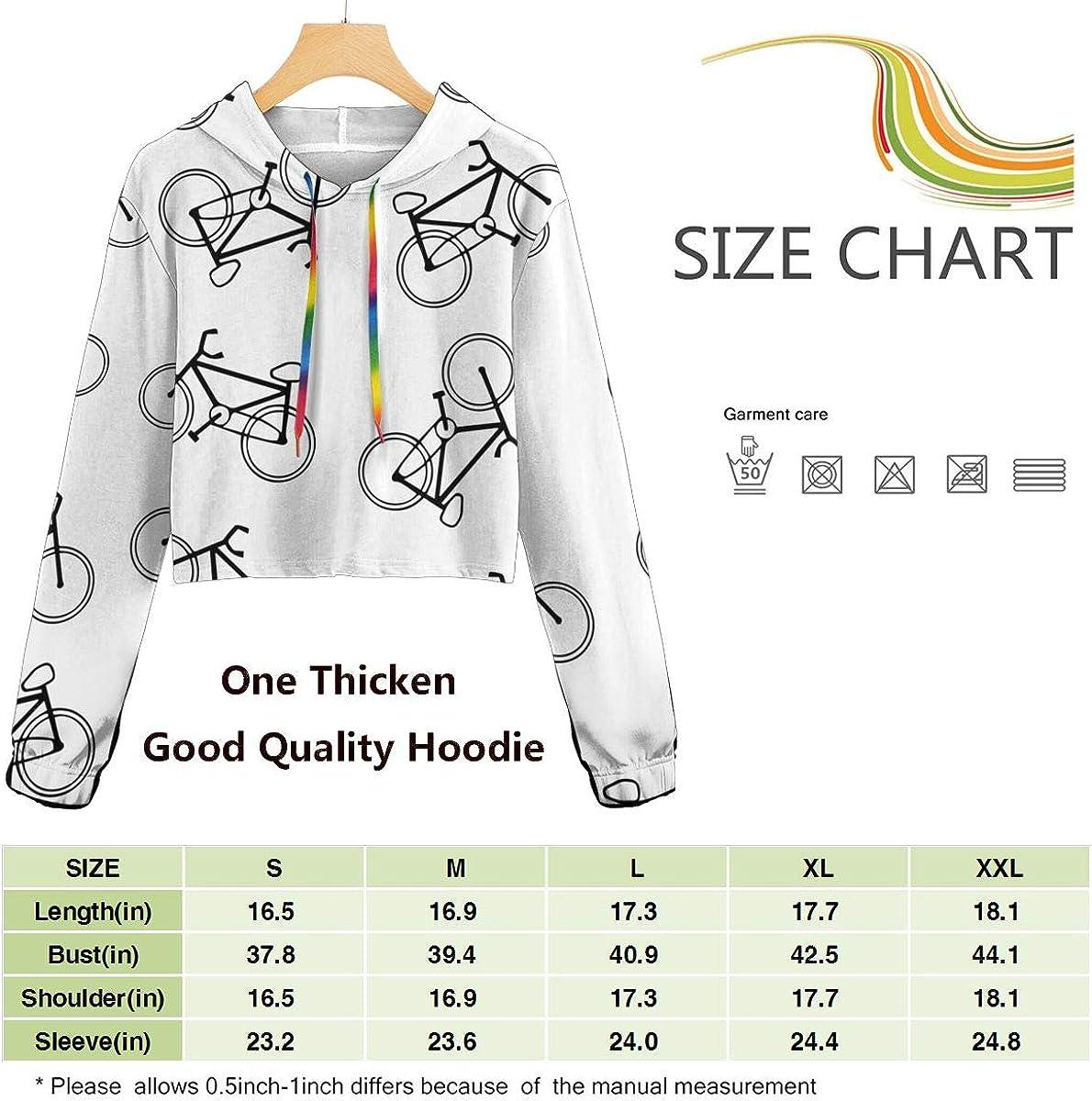 Cute Long Sleeve Sweatshirts Hoody Womens Bike Icon Crop Top Pullover Sweatshirt