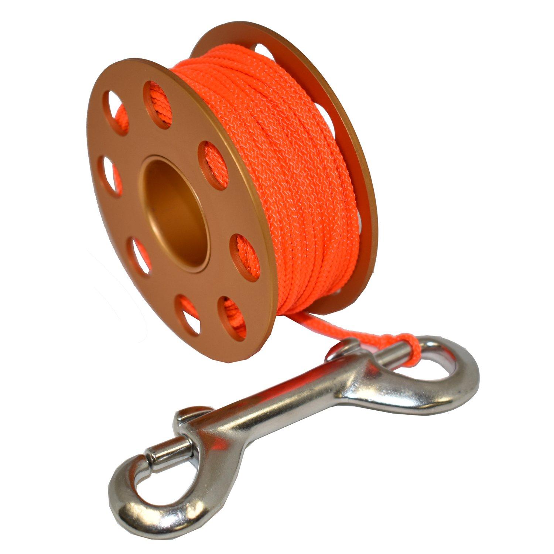 Scuba Choice Aluminum Finger Spool 75ft Dive Reel w/Bolt Snap-Gold/Orange
