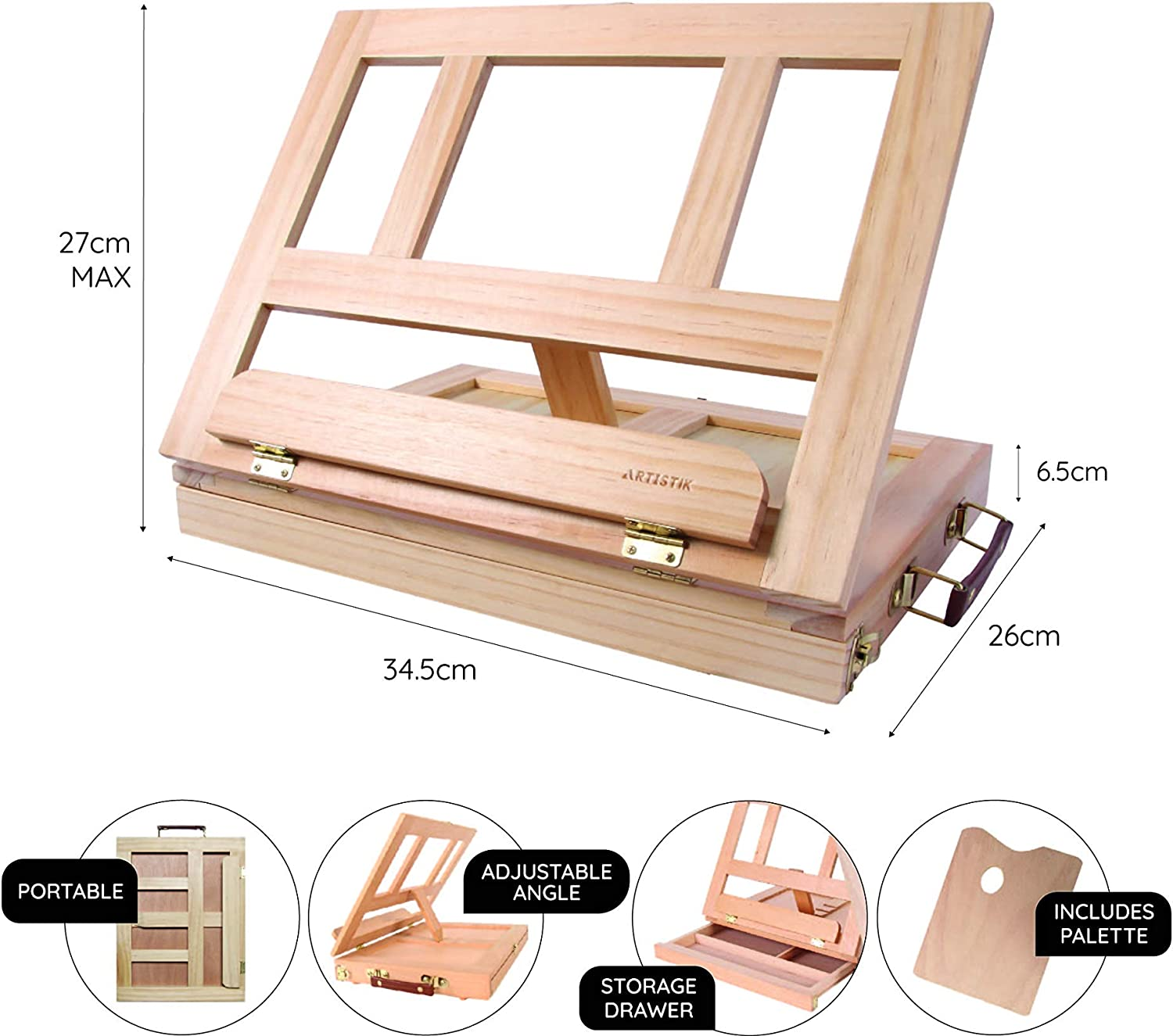 Drawing /& Sketching Desk Easel Table Desk Top Easel Box with Art Supply Storage Drawer Adjustable Easel for Painting