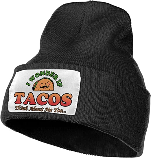 Slouchy Mens Beanie Skull Cap I Love Tacos Extra Warmth Women Knit hat for Men