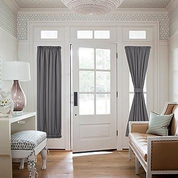 Grey Side Lights Door Curtain   Functional Thermal Insulated Blackout Door  Curtain Panel For Patio Door