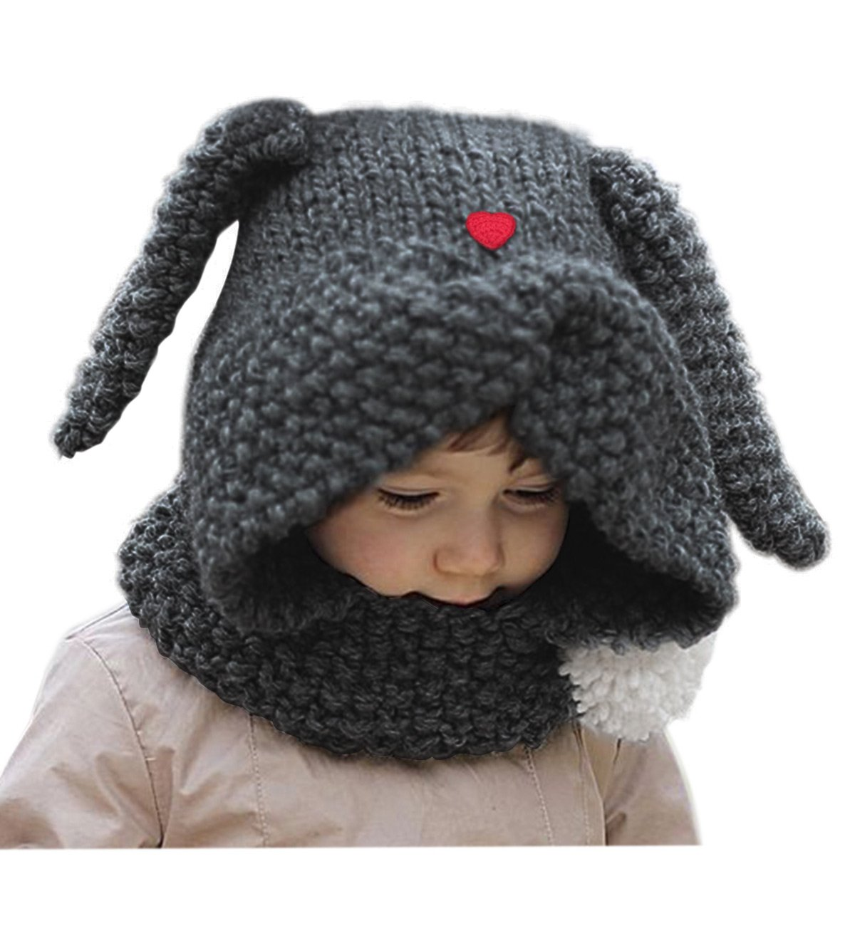 410106144fa Sumolux Girls Kids Warm Animal Hats Knitted Bunny Ear Coif Hood Scarf  Beanies for Winter