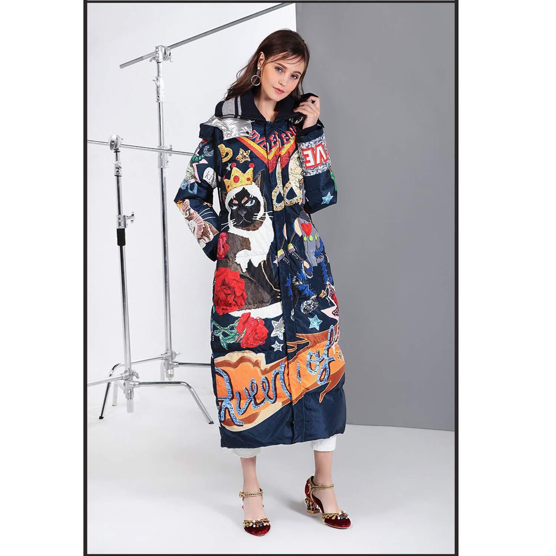 YXXHM- Herbst- Und Winterfrauenjacke, Europäischer Und Amerikanischer Modekarikaturdruck, Lange Lose Daunenjacke