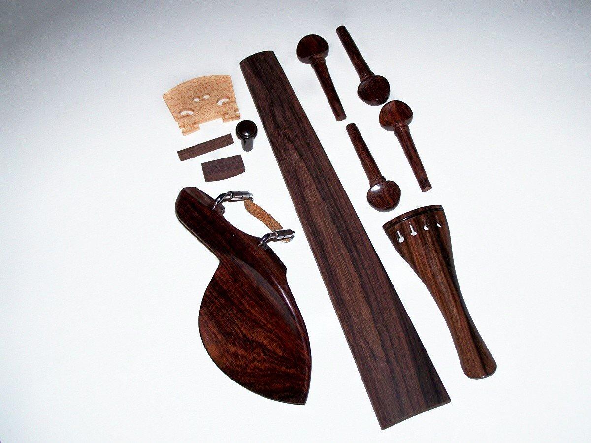 A 4/4 Violin Rosewood Finger Board, Parts: Guarneri, Swiss Pegs, End Pin, Tailpiece, Bridge Nut/Saddle, Gut VWWS