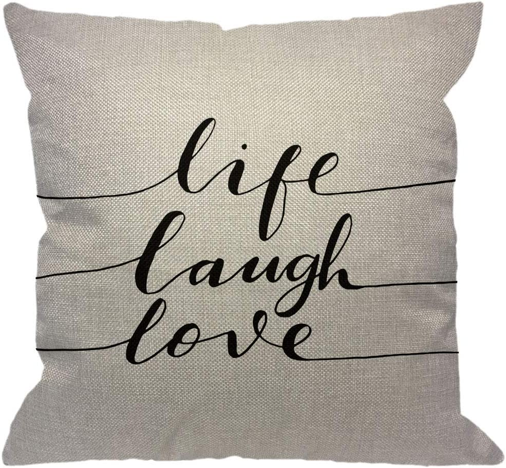 HGOD DESIGNS Quotes Throw Pillow Cover,Life Laugh Love Word Inspiration Lettering Black White Decorative Pillow Cases Cotton Linen Square Cushion Covers for Home Sofa Couch 18x18 inch