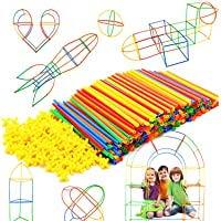 Straw Constructor Stem Building Toys 300 Pcs-Colorful Interlocking Plastic Enginnering Toys- Educational- Safe For Kids…