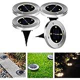 4 x LED Solar Leuchte außen Garten Solarleuchte Bodenleuchte Edelstahl Außenleuchte Wasserdicht 100LM Dämmerungsschalter Erdspieß Solar für Rasen Hof Auffahrt Warmweiß /Gelb Lichtfarbe