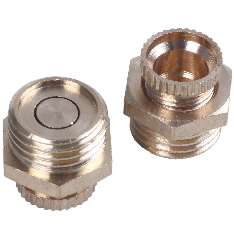 Vaorwne 2 piezas 1//4 PT valvula de entrada de agua de metal roscado de macho para compresor de aire Oro