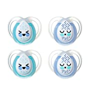 Tommee Tippee Closer to Nature Night Time Newborn Baby Pacifier, 0-6 Months - Boy, 4 Pack