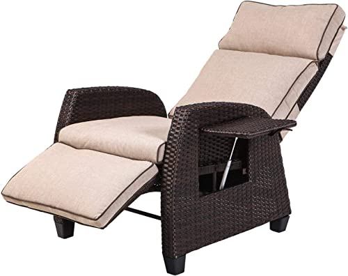LCH Adjustable Recliner Relaxing Sofa Chair Outdoor Wicker Furniture Aluminum Frame Lounge with Beige Soft Thicken Cushions Porch, Backyard, Pool or Garden
