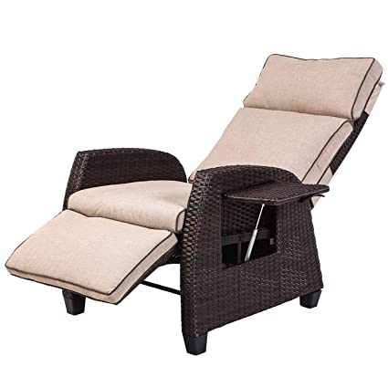 Stupendous Lch Adjustable Recliner Relaxing Sofa Chair Outdoor Wicker Furniture Aluminum Frame Lounge With Beige Soft Thicken Cushions Porch Backyard Pool Or Unemploymentrelief Wooden Chair Designs For Living Room Unemploymentrelieforg