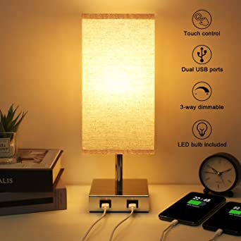 Touch Control Table Lamp, Aooshine Bedside Lamp with 2 Fast Charging USB Ports, 3 Way Dimmable Lamp Modern Touch Lamps for Bedroom, Living Room,