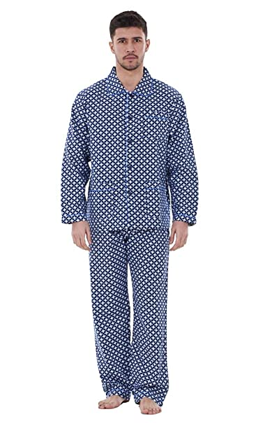 Pijama clásico de algodón de manga larga para hombre Azul oscuro estampado XX-Large