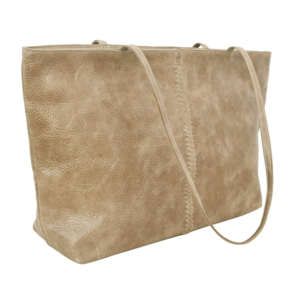 Latico Leathers Cruz Tote Genuine Authentic Luxury Leather, Designer Made, Business Fashion and Casual Wear, Pebble Steel