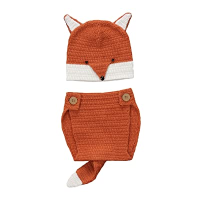 Urkutoba Infant Baby Boy Girl Fox Design Sweater Kintted Fox Hat+Short Pants with Tail Outfit Clothing Set