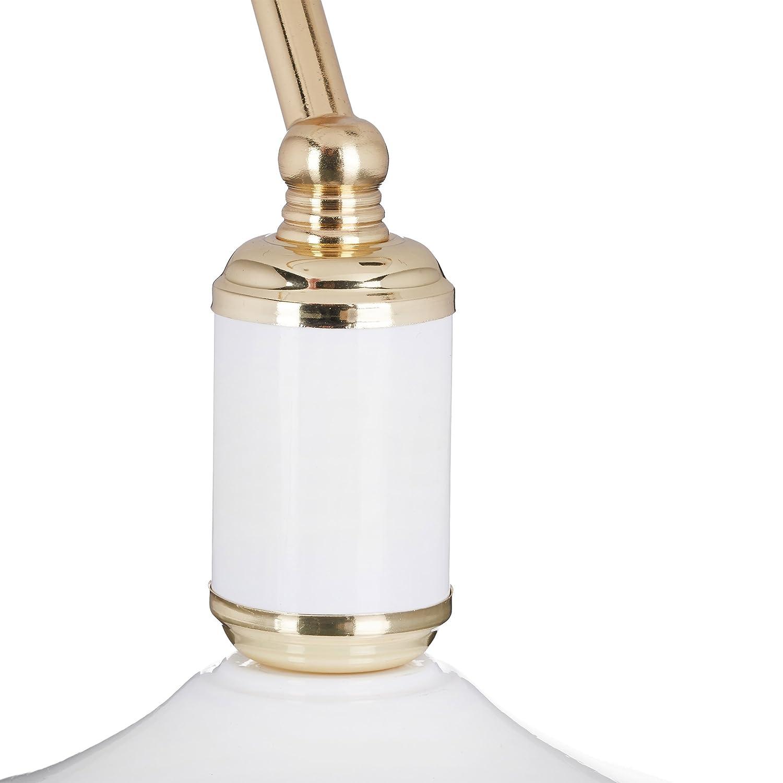 40 W Relaxdays 10020665/_259 Lampada Ministeriale Scrivania E27 Bianco//Oro 36x26x21 cm