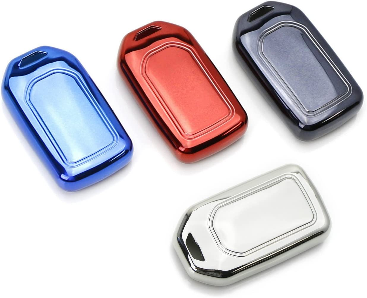 iJDMTOY Chrome Finish Blue TPU Key Fob Protective Cover Case For Honda Accord Civic Crosstour HRV FIT Odyssey Ridgeline etc