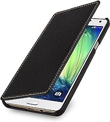 StilGut Book Type sans Clip, Housse en Cuir pour Samsung Galaxy A7 (2015). Etui de Protection de Cuir véritable à Ouverture latérale, Noir