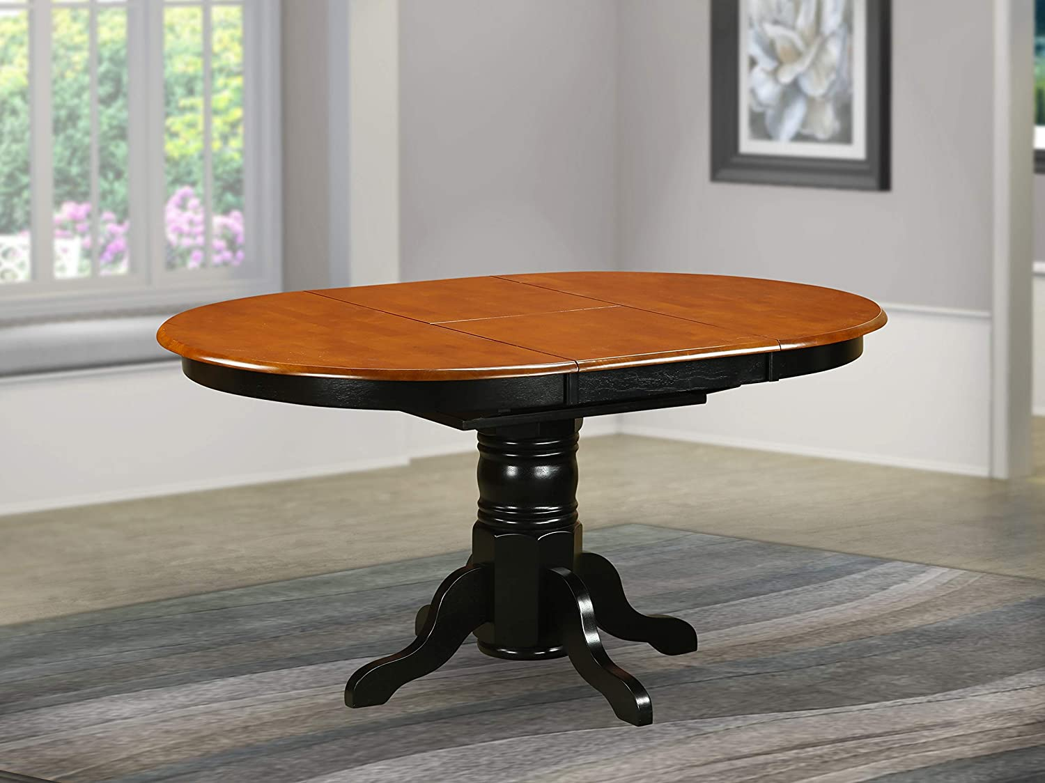 Amazon Com East West Furniture Butterfly Leaf Oval Table Cherry Table Top Surface And Black Finish Pedestal Legs Hardwood Frame Kitchen Table Furniture Decor