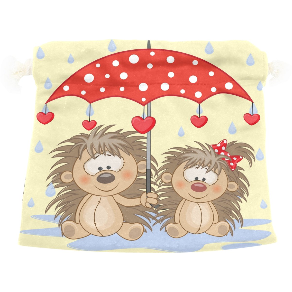 Dragon Sword Two Hedgehogs With Umbrella Gift Bags Jewelry Drawstring Pouches for Wedding Party, 5.5x5.5 Inch