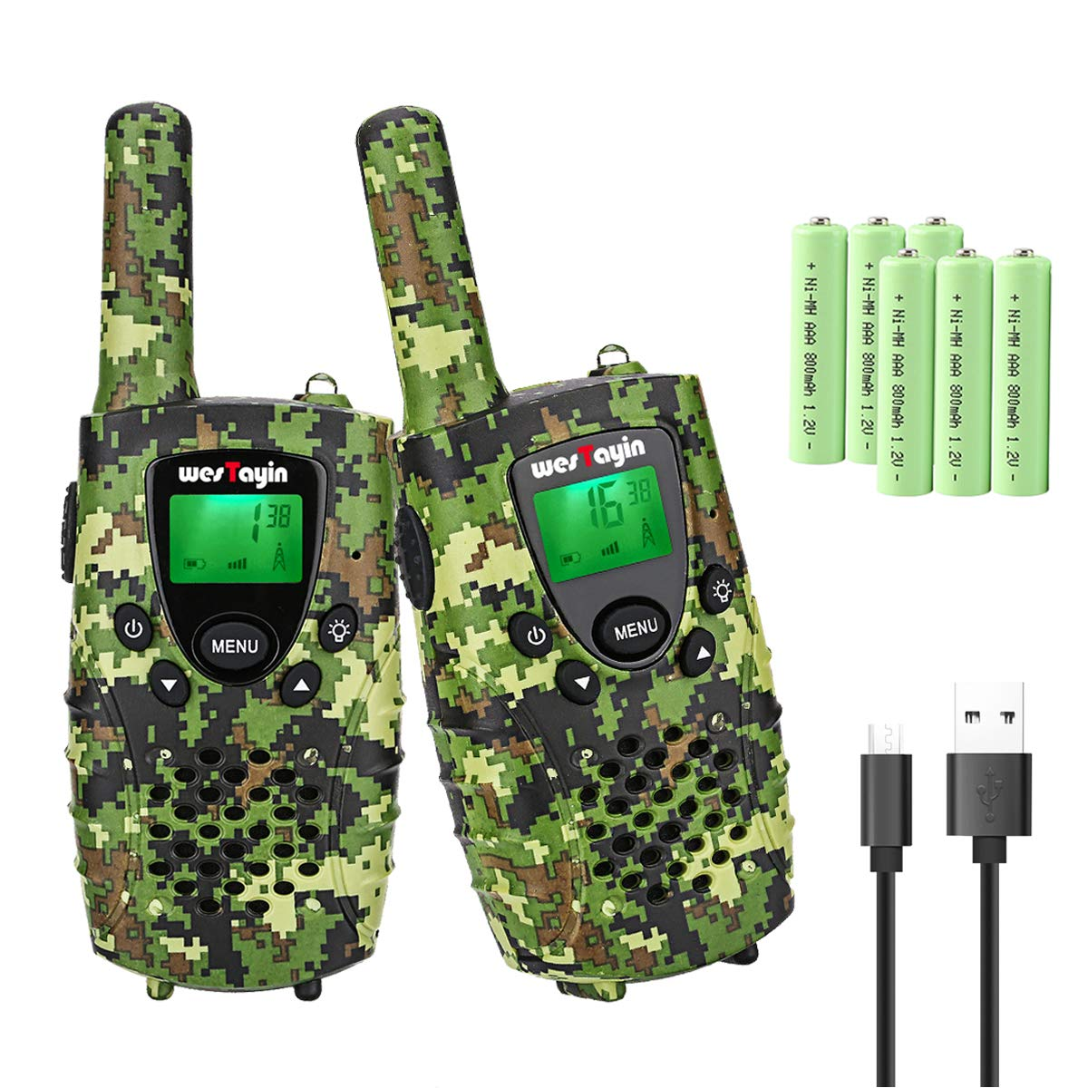 WES TAYIN Rechargeable Walkie Talkies for Kids, 4 Miles Kids Walkie Talkies with VOX Hands Free and LED Flashlight, Power Saving Two Way Radios Toys, Holiday Birthday for Kids