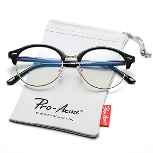 3fdf854f74 Image not available for. Color  Pro Acme 80s Retro Round Clear Lens Glasses  Non-Prescription Semi-Rimless Eyewear (