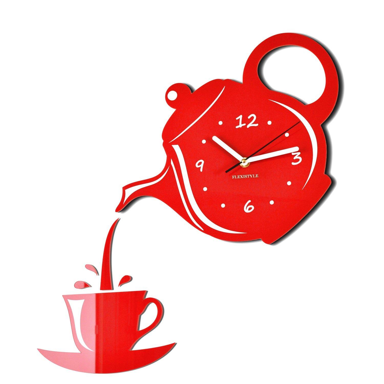 Acquisto Orologio da parete moderno a forma di caffettiera e tazzina da caffè, ideale per cucina, rosso Prezzi offerta