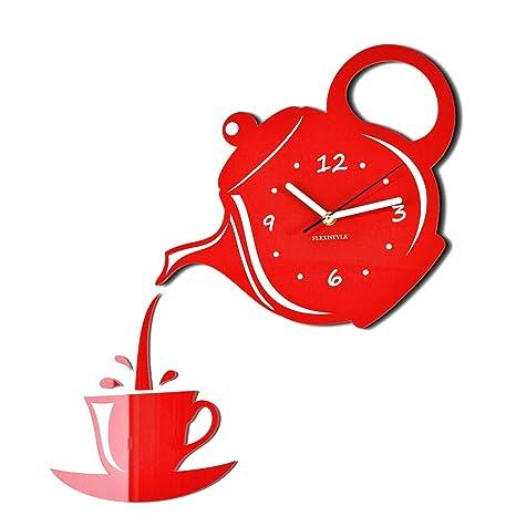 Moderno reloj de pared de la cocina Taza y Jarra Rojo, 45 cm x 45