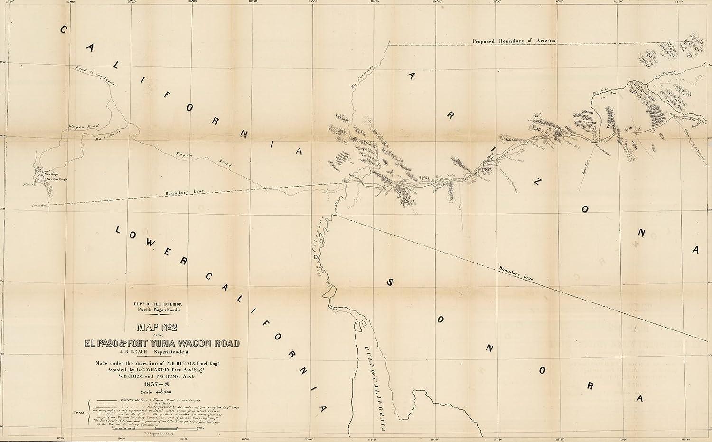 Map Of Arizona 1858.Amazon Com Map No 2 Of The El Paso Fort Yuma Wagon Road 1858