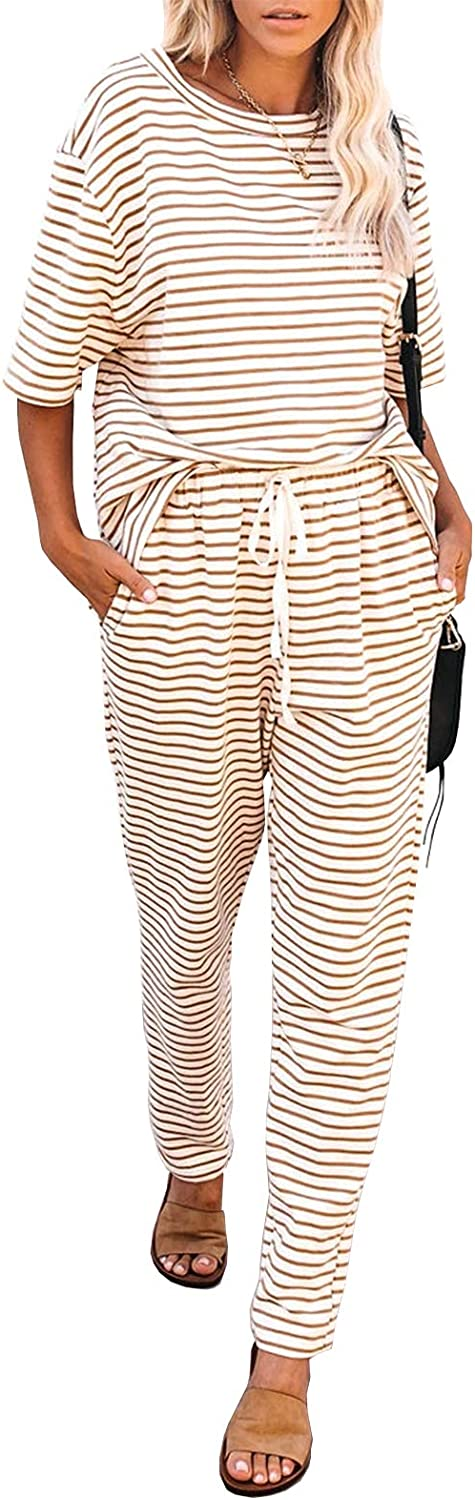 MITILLY Women's Striped 2 Phoenix Mall Piece Lowest price challenge Tops a Outfits Crewneck Pullover