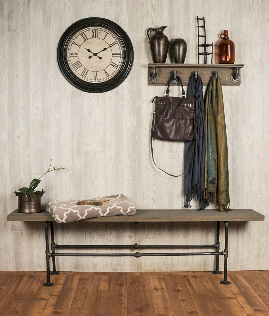 """Industrial Pipe Decor Floating Coat Hook Kit, Heavy Duty Wall Mounted, Rustic Iron DIY Style, Steel Grey Black For Entryway, 1/2"""" Inch Threaded Floor Flanges Fittings and Elbows, Strong Metal Hooks 5"""