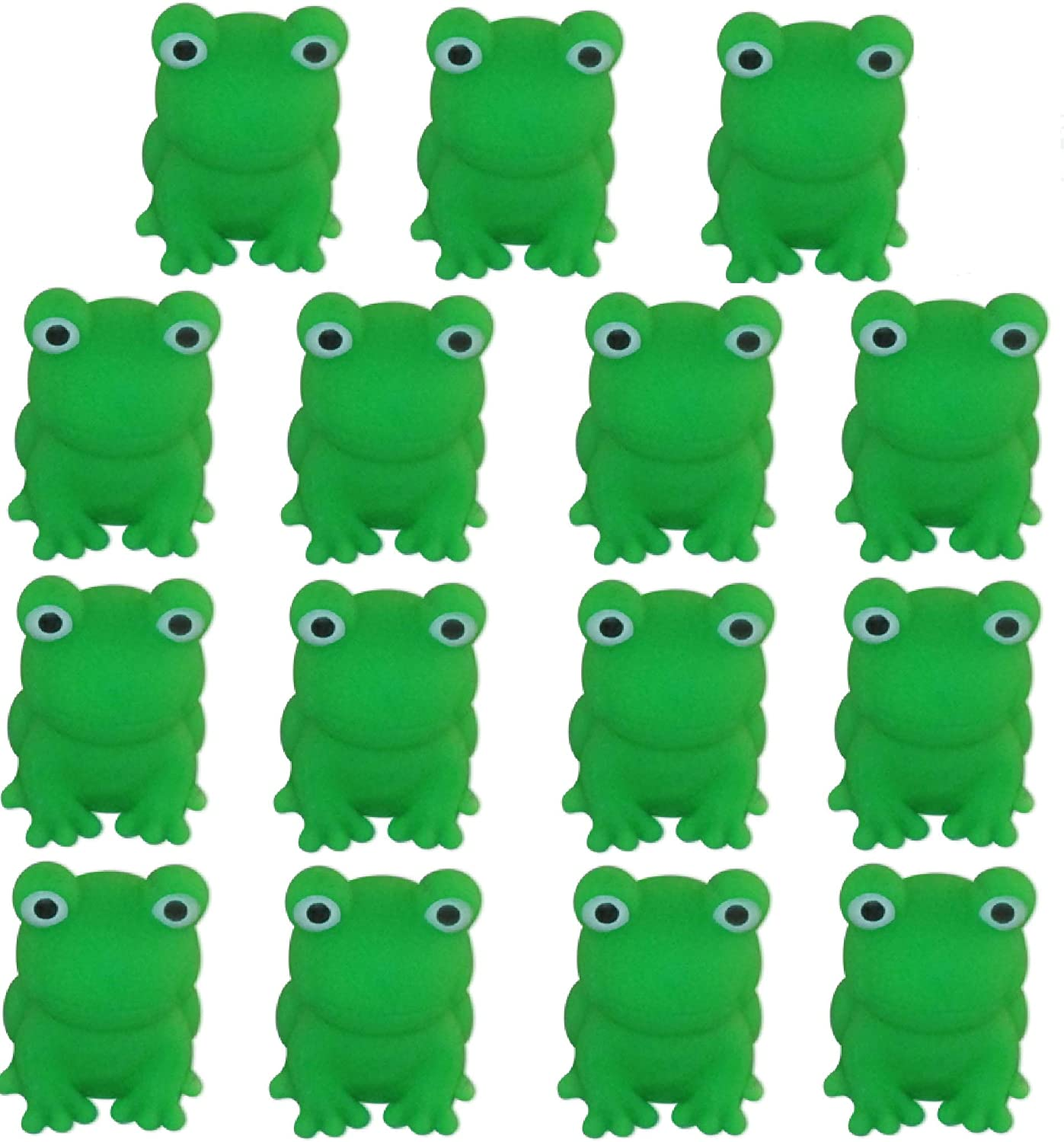 Passover Frogs - Bag of 15 Plastic Squeaking Frogs, Bright Green 10 Plague Frogs for Seder Table Decoration