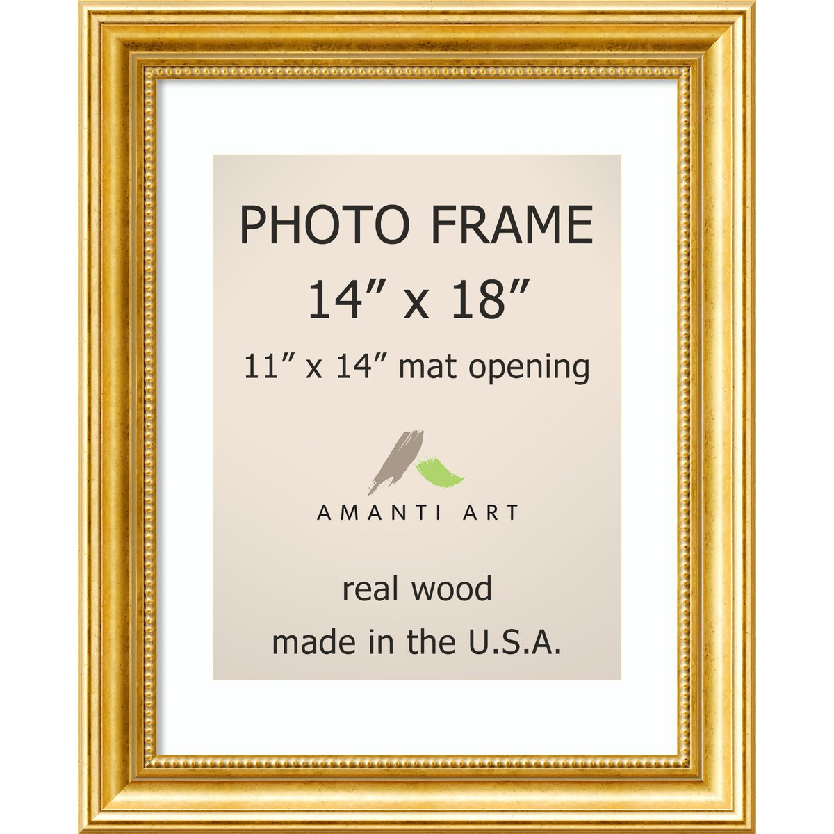 Amazon.com: Picture Frame, 14x18 Matted to 11x14 Townhouse Gold Wood ...
