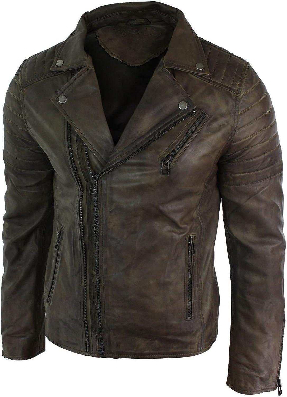 Mens Marlon Brando Cross Zip Retro Vintage Brown Real Leather Jacket