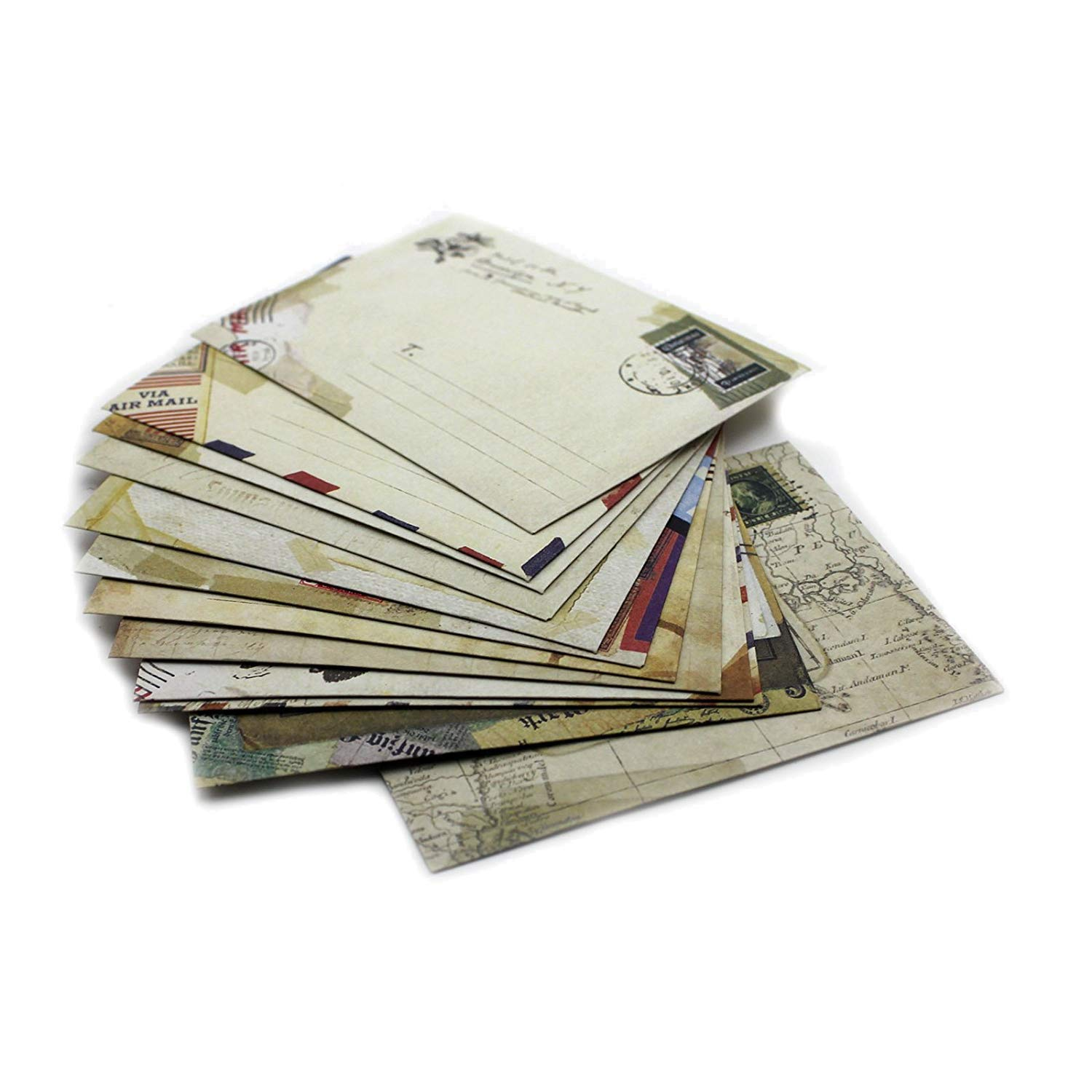 Potelin Set of 12 Vintage Mini/Small European Style Airmail Envelope for Greeting Cards