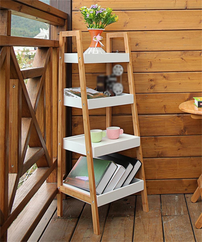 LB huajia ZHANWEI Bambus Trapez Bücherregal Blumentopf Regal Creative 4-Layer Pflanze Stand Wohnzimmer Einfache Bücherregal