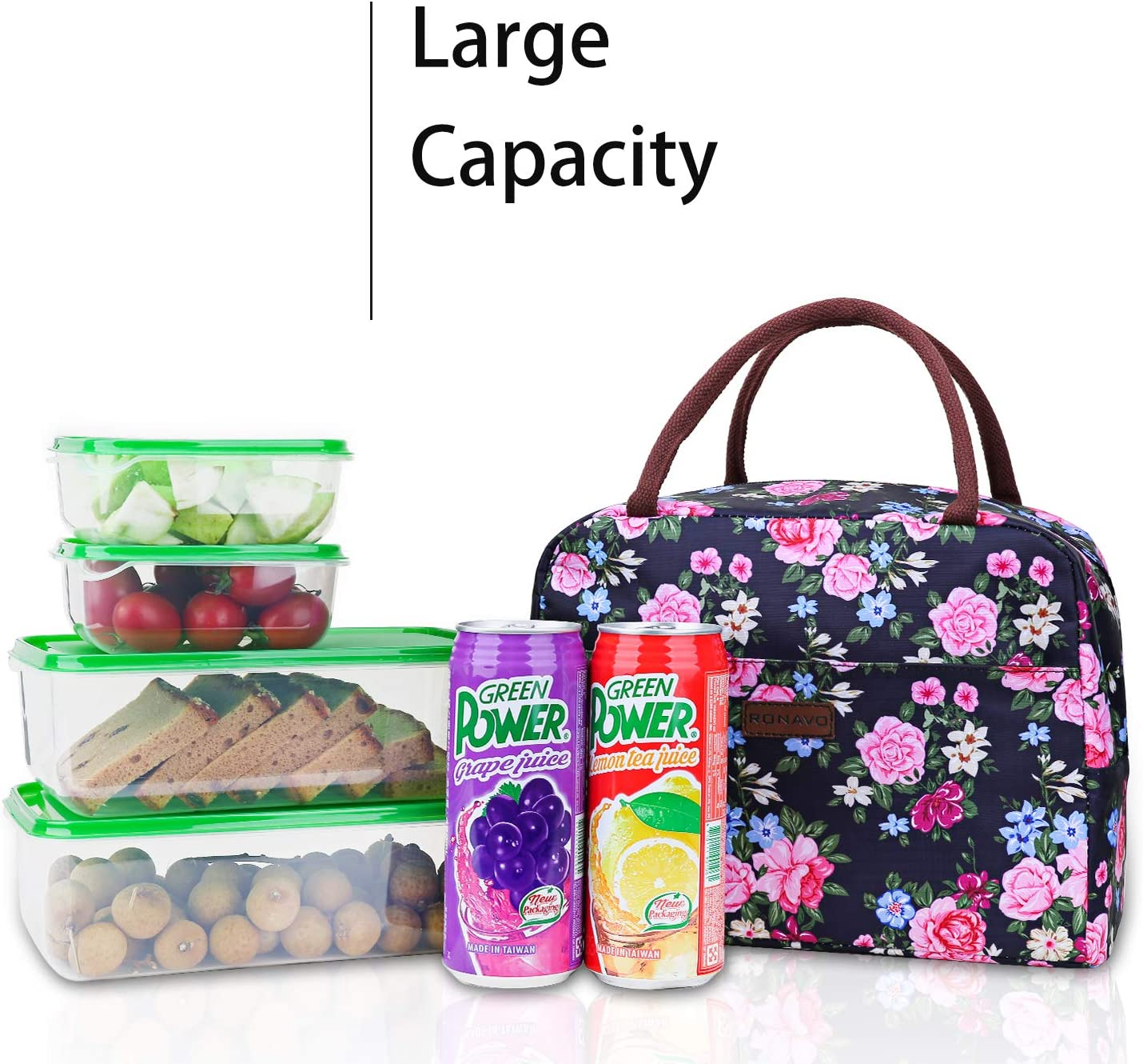 Meal Prep Lunch Tote Boxes by RONAVO/… Larger Capacity for Men /& Women Adult Lunch Bags Insulated Lunch Box