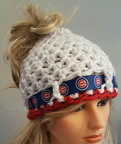 0e95b59fb92 Amazon.com  Crochet Cubs bun hat. Made by Bead Gs. Ladies Size.  Handmade