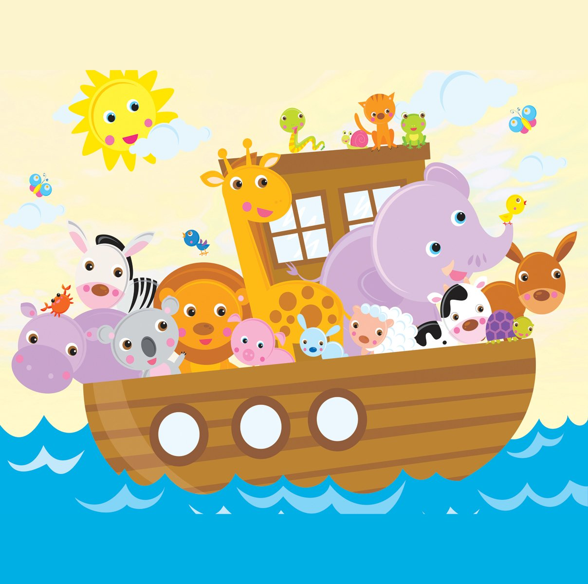 JP London SQM2064PS Peel and Stick Removable Wall Decal Sticker Mural Noah's Ark Animal Friends At 6' High By 6' Wide by JP London (Image #1)