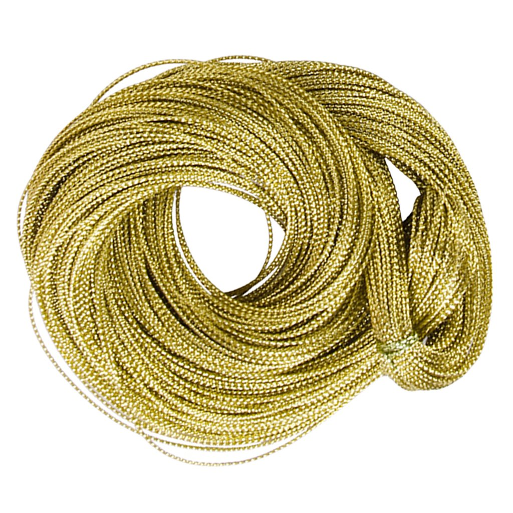 Multifunctional Golden String Metallic Jewelry Cord Card Braid 100 Yards MagiDeal