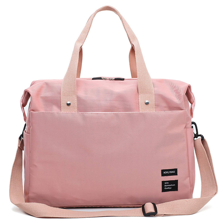 Pink Nylon Cloth Travel Bag, Fashion with Trolley Case, Pocket Bag, Oxford Cloth Waterproof, Casual, Gym Bag