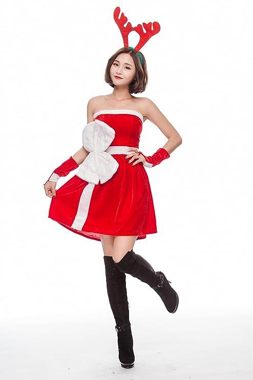 59463a2d29c S&C Live クリスマスコスプレ衣装 レディース ベアトップOPサンタ トナカイ角カチューシャ3点Set
